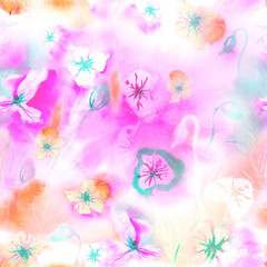 Spring seamless pattern with watercolor flowers