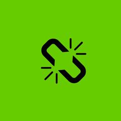broken chain icon flat disign