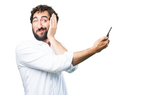 young funny man with mobile phone