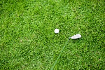 Closeup on golfer golf ball on natural green grass background