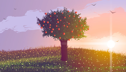 Summer. Apple tree on a hill with flowers at sunset. Birds flying in the clouds.