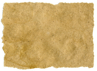 Highly-textured old brown paper. Isolated on white. 