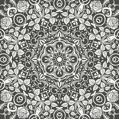 Seamless floral pattern motif coloring a mandala drawn with a pen. black and white. Ethnic, fabric, motifs. Vector, abstract mandala flower. Decorative elements for design. EPS 10.