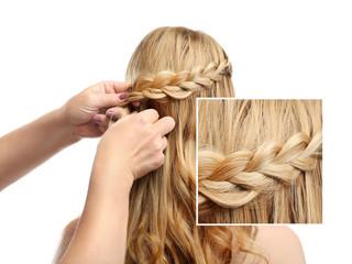 Hairdresser braiding hair, white background