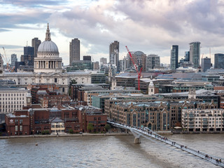 St. Paul's cathedral, the Millenium Bridge and The River Thames,