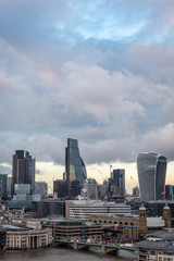 The City of London skyscrapers under an overcast sky