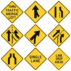 Road signs in the United States. W4 Series: Lanes and Merges.