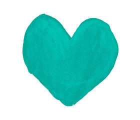 Turquoise heart painted with gouache