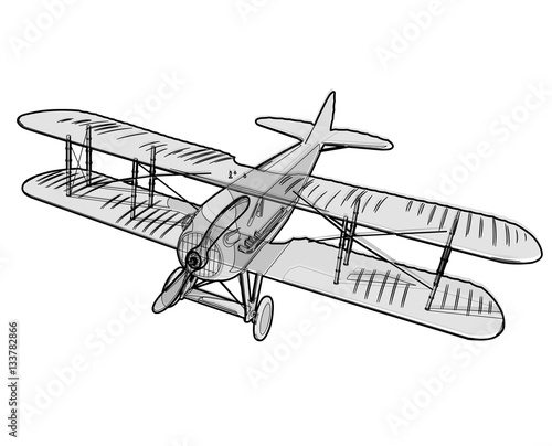 """""""biplane from world war with outline model aircraft"""