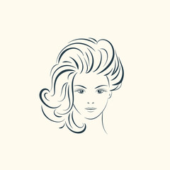 Beauty woman face with long wavy hair.  Lines illustration.
