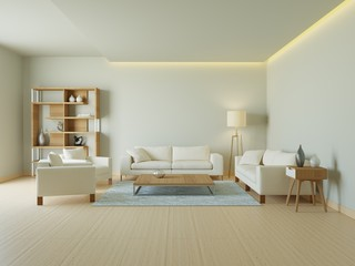 3d housing interior in warm tones