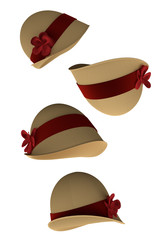 Cloche Hats (3d render, isolated on white background)