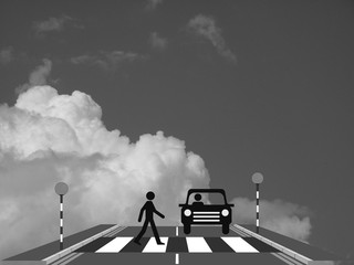 Monochrome pedestrian walking across a zebra crossing