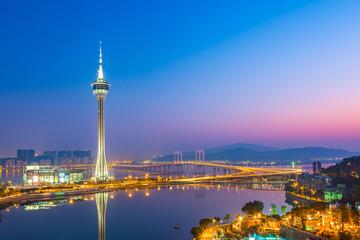 Night view of Macau city in Macau, China.
