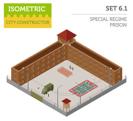 Flat 3d isometric special regime prison, jail for city map const
