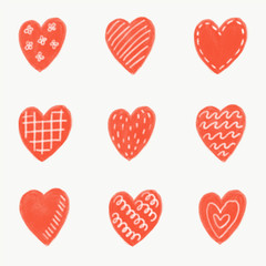 Pattern with pencil drawn red hearts