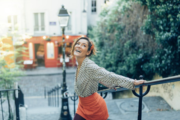 Paris, Attractive woman visiting Montmartre district
