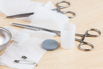 A table with medical instruments