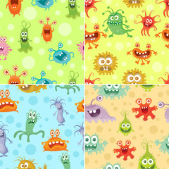 Set of Seamless Pattern with Good and Bad Bacteria
