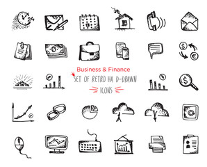 Hand-drawn sketch Business and Finance web icon set