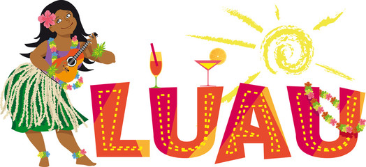 Luau party banner with a hula dancer, playing ukulele, EPS 8 vector illustration