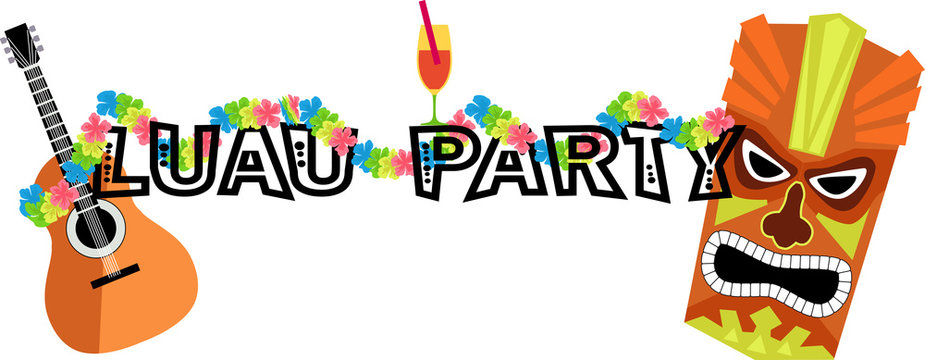 Banner for a luau party with a ukulele, tiki mask and lei, EPS 8 vector illustration, no transparencies