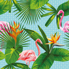 tropical leaves and flowers seamless flamingo background circle