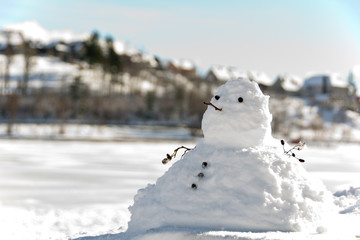 chubby snowman and de focused background