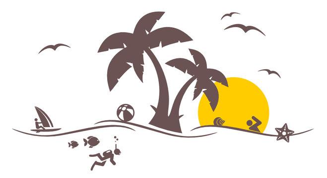 Wassersportler mit Palmen
