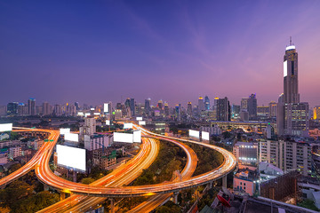 The highway blank white billboard in metropolis with traffic