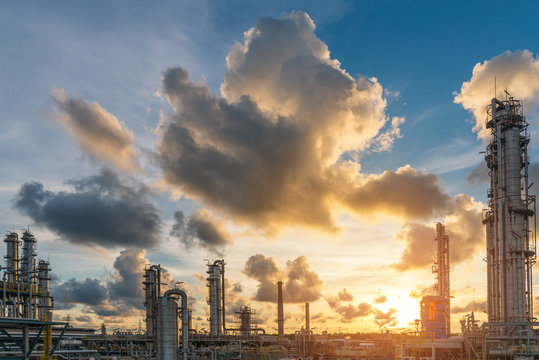 The sunshine scene at sunset of oil and gas refinery plant