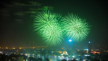 Firework on Hanoi liberation 60th day at Hoan Kiem lake, Hanoi, Vietnam