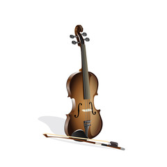 Violin on white illustration