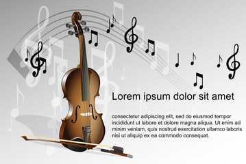 Violin and music notes on white