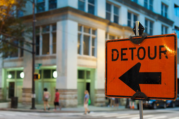 Detour sign in downtown.