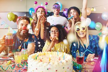Goofy friends celebrating a birthday
