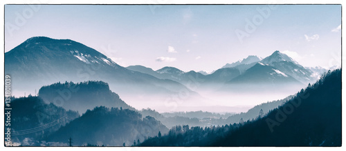 Fototapete Alpine winter valley, Slovenia