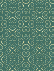 Seamless lace pattern. Vintage curled texture. Swirl silhouettes floral heart signs. Twist ornament of laurel leaves. Green, yellow colored background. Love, birthday, sale theme. Vector