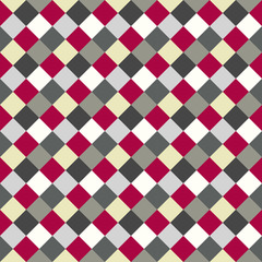 Seamless geometric checked pattern. Diagonal square, woven line background. Rhombus, patchwork texture. Gray, red, white colored. Vector