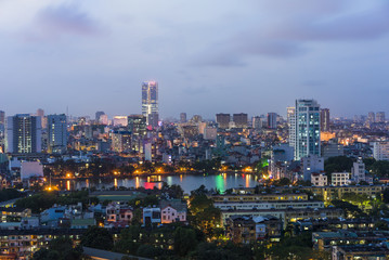 Poster London Aerial view of Hanoi skyline at night