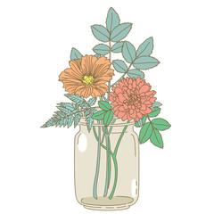 Hand drawn flowers in a mason jar