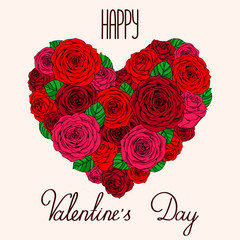 Card Valentine's day - heart from roses with lettering on a light background. Vector illustration