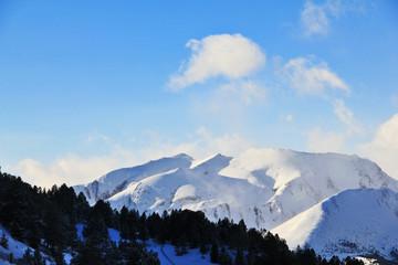 Winter mountain landscape. Mountain climbing snow