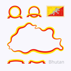 Bhutan – Outline Map and Ribbons