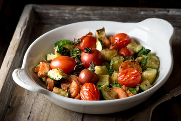 Roasted zucchini, carrot and tomato