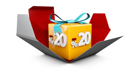3d Illustration red discount 20 percent off and in the gray box.