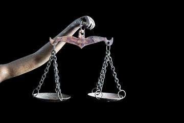 Lady Justice's and holding Scale of Justice isolated on black background and space for text