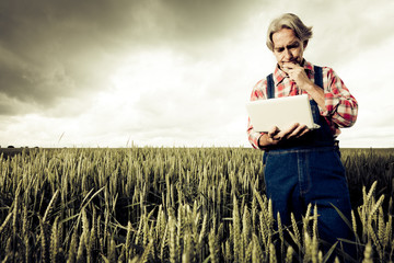 Farmer Selling His Crop Over The Internet