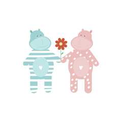 Valentines day banner with Hippo lovers couple holding hands with flower. Vector illustration eps 10.