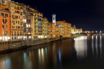 Beautiful night view of Arno river and S. Trinità bridge, Firenze, Tuscany, Italy